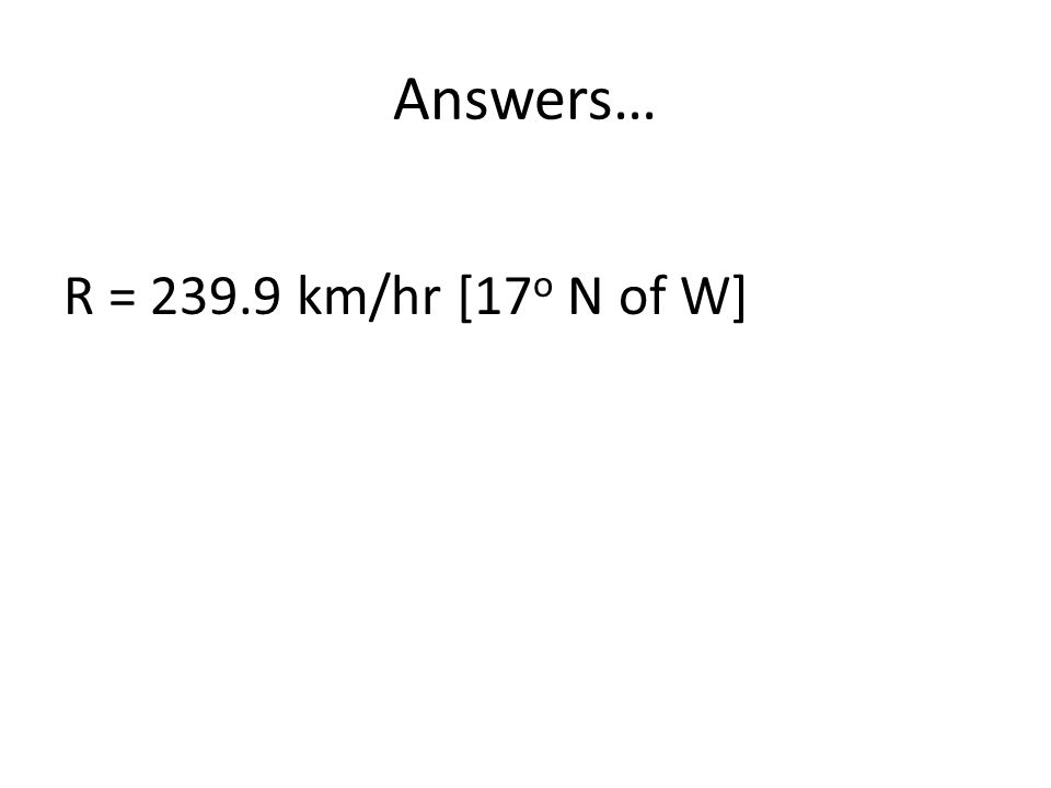 Answers… R = 239.9 km/hr [17o N of W]